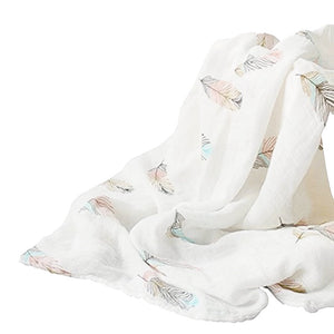 Extra large 120x120cm 100% Feather bamboo cotton muslin swaddle blankets