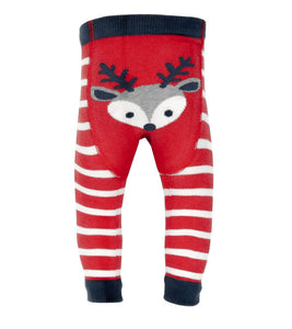 Reindeer bottom organic cotton footless knitted leggings (0-24 months)
