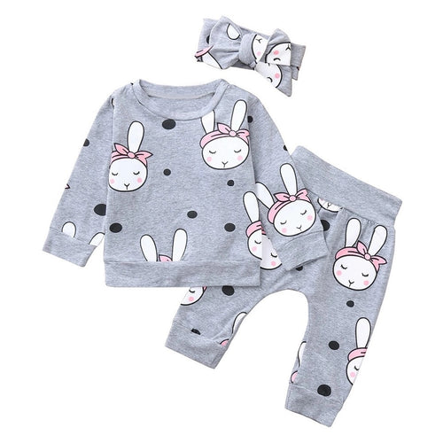 Dots and bunny grey jersey play wear with headband