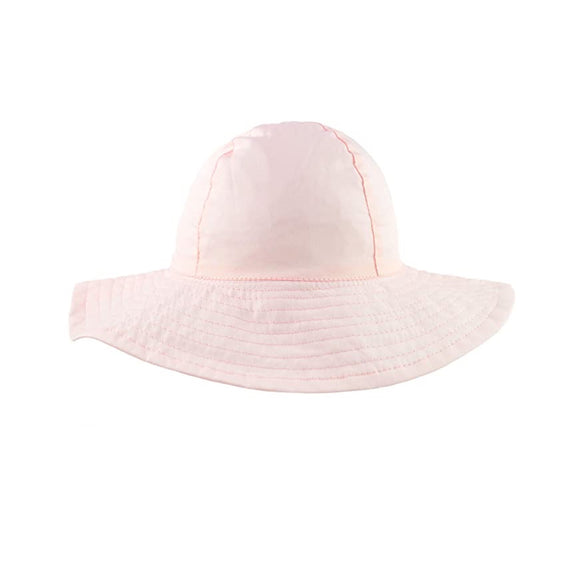 Girls plain wide brim hat - blush pink (1-4 years)