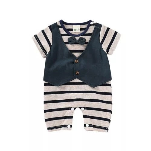 """Little fella"" Breton stripe waistcoat and bow tie all in one (0-12 months)"