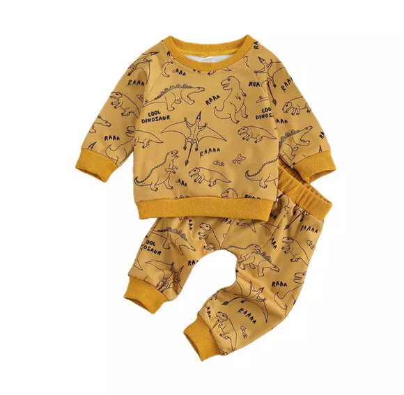 Mustard Dino print sweatshirt and trouser playwear lounge set