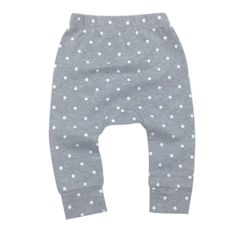 Polka dot white and grey jersey cotton leggings (up to 2 years)
