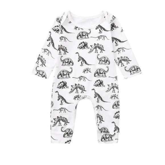 White footless dinosaur hunter romper (0-18 months)
