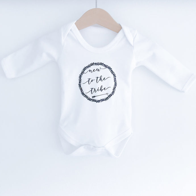 "Monochrome Tots ""New to the tribe"" Scandi design long sleeve bodysuit"