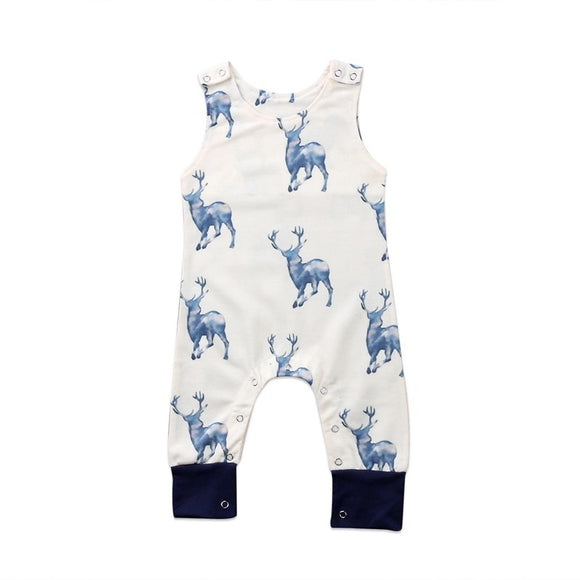 Blue stag print dungaree style romper (0-18 months)