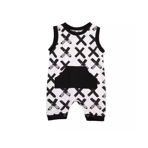 Cross monochrome summer dungarees with black pocket