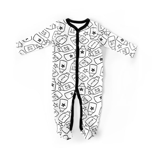 Milk print and star monochrome sleepsuit romper with poppers