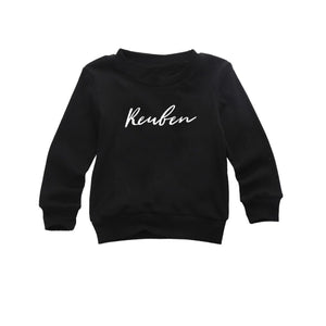 Personalised name wild font black long sleeve t-shirt (0-2 years)