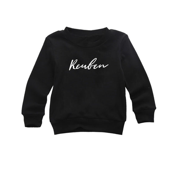 Personalised name wild font black long sleeve t-shirt (0-5 years)