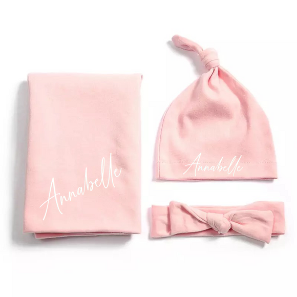 Baby pink personalised newborn gift hat and shawl set - 0-6 months