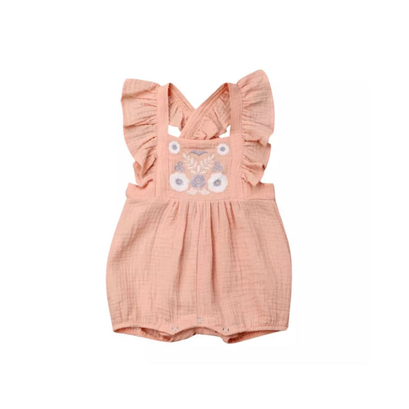 Blush coral embroidered frill bib short romper - 3 months to 2 years