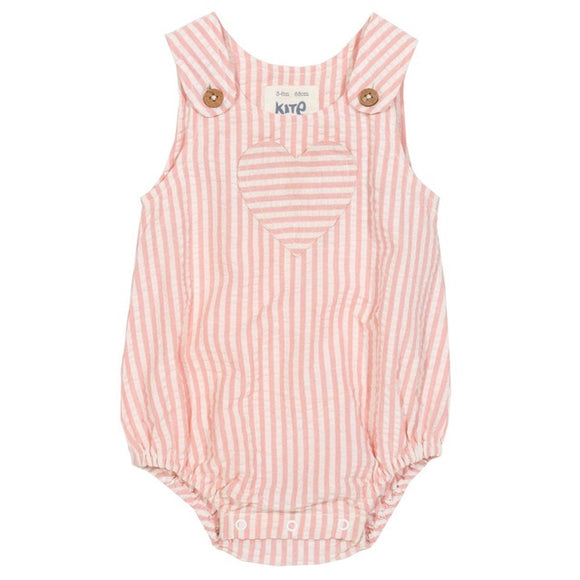6-9 months - Certified organic cotton candy breton stripe heart romper by KITE -bf03