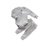 Grey two piece ribbed set with personalisation (up to 12 months)