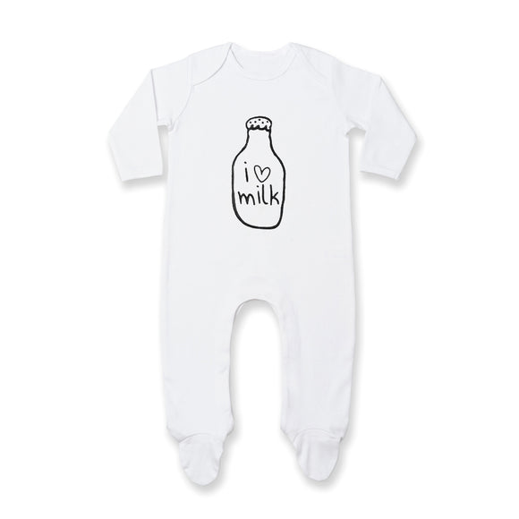 White I love milk sleepsuit romper (newborn to 12 months)