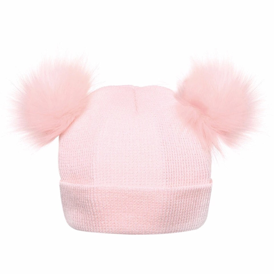Pink double Pom Pom Hat (0 - 2 years)
