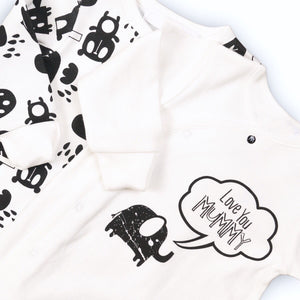 "Twin sleepsuits ""I love mummy"" monochrome animal design"