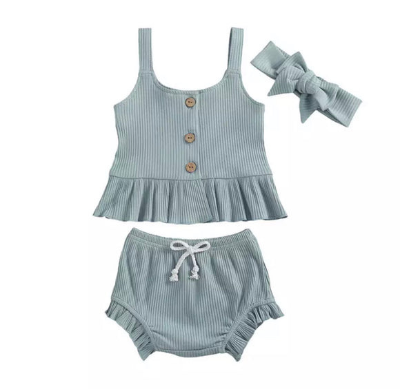 Clearance - 0-3 months - Dusky blue ribbed top and ruffle bloomer set with headband