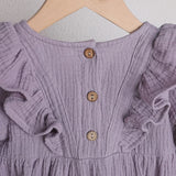 Mauve cotton frill shoulder button back romper (0-2 years)