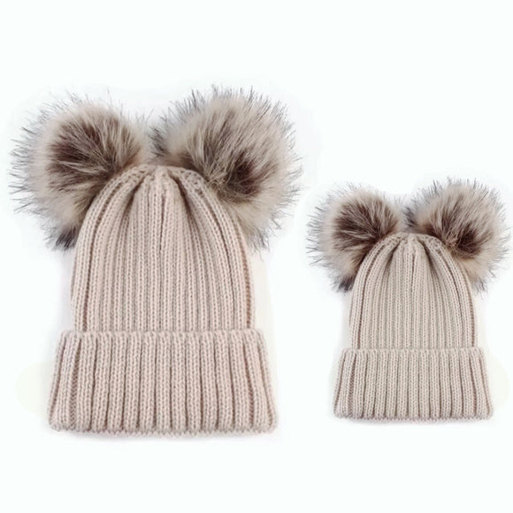 Mama and Me - Beige Matching Double Pom Pom Knitted Hats - adult and baby sizes available