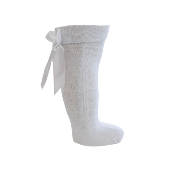 White knee length socks with satin bow (0-24 months)