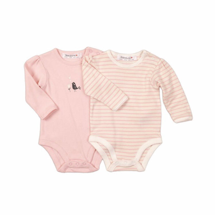 Pink bird long sleeve bodysuit sets (0-12 months)