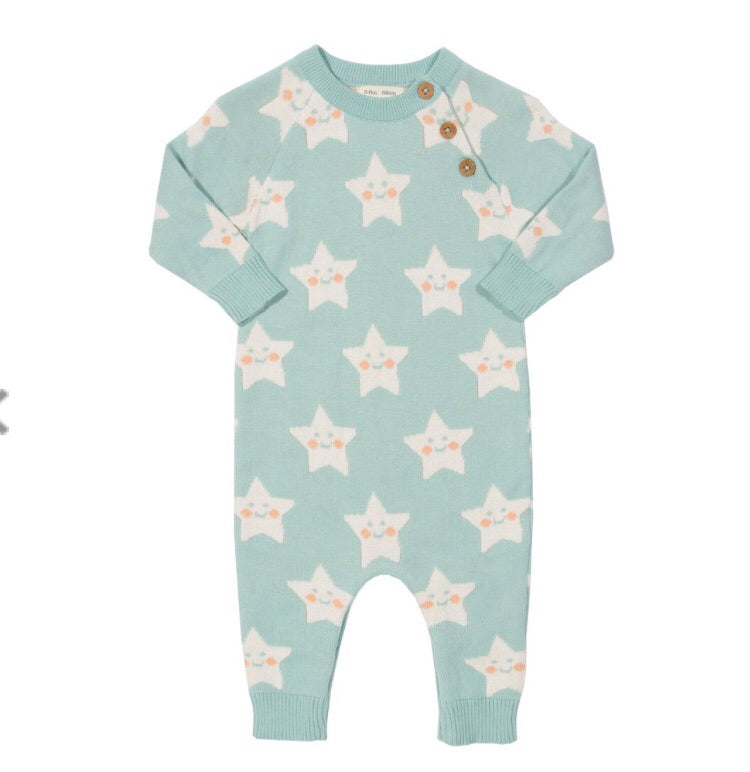 0-3 months KITE GOTS certified organic cotton super star jacquard knit romper