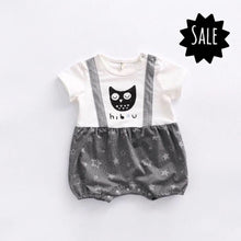 Hibou the French owl. Summer romper with mock braces.