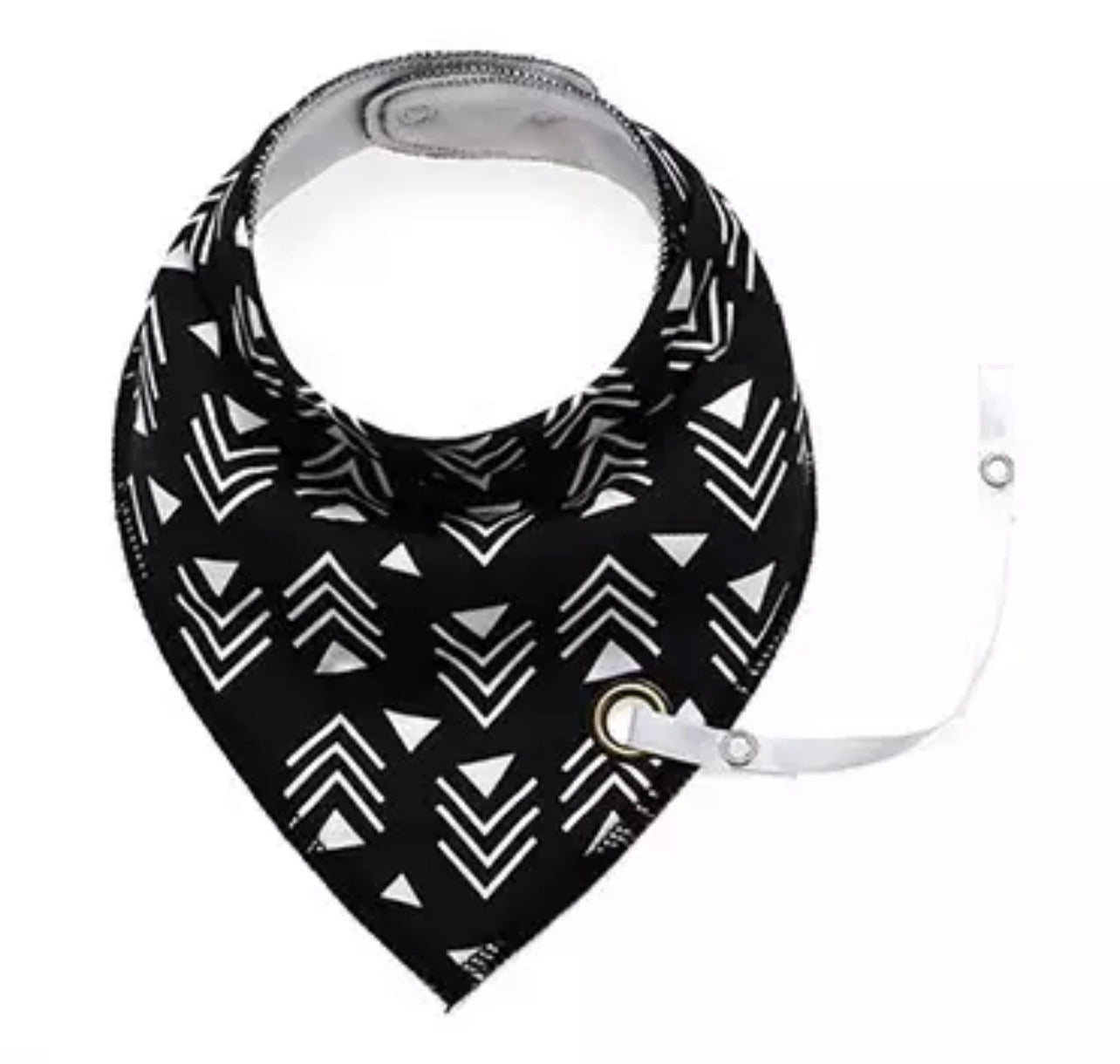 Black monochrome geometric arrow print fleece-lined cotton dribble bib with soother holder