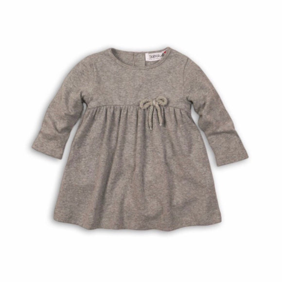 Grey marl mixed yarn dress with twine bow (12 to 24 months)