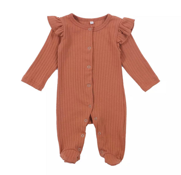 Deep rust vintage ribbed footed romper (0-6 months)