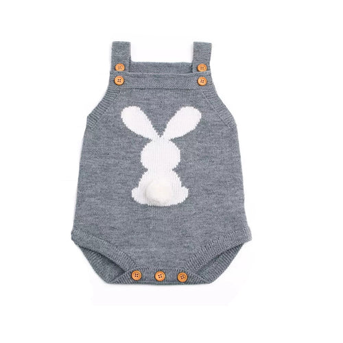 Bunny Pom Pom tail knitted grey romper (up to 12 months)