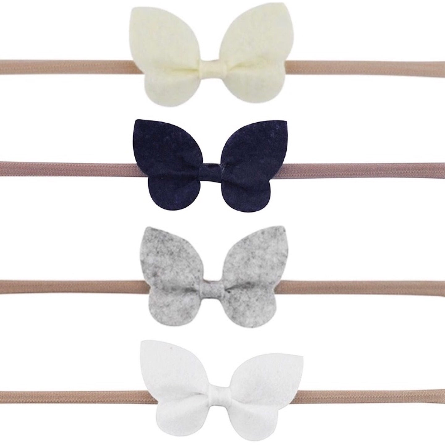 Set of four butterfly felt headbands