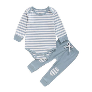 Sky grey breton stripe lounge set (0-2 years)