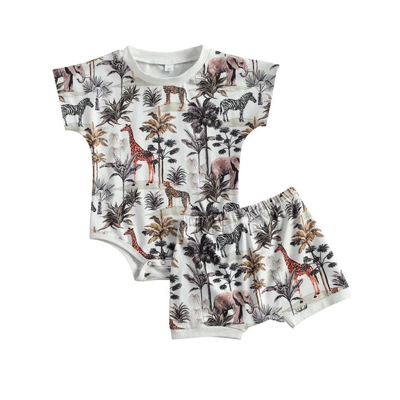 Safari print bodysuit and short set (0-2 years)