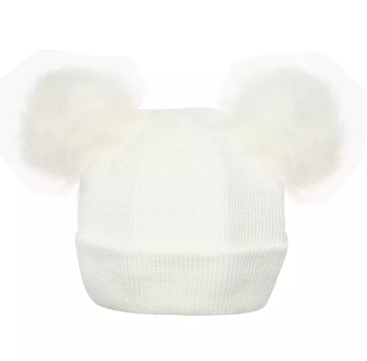 White double Pom Pom Hat (0 - 2 years)