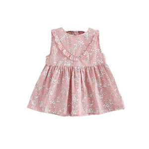 18-24 months - Dusky pink frill detail flower and fern cotton dress 004