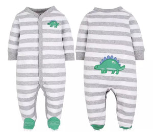 Dinosaur grey stripe feet finders sleepsuit baby grow