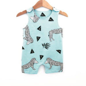 Safari zebra and triangle print aqua dungers (0-2 years)