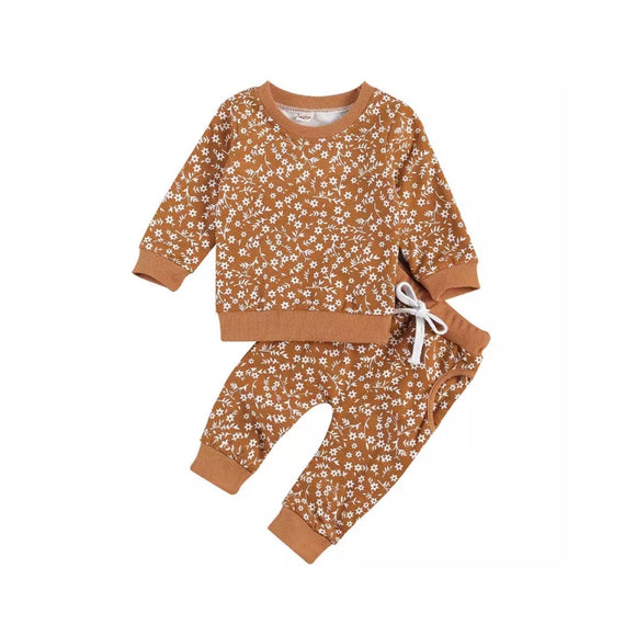 Copper ditsy floral print sweatshirt and trouser playwear lounge set (up to 2 years)