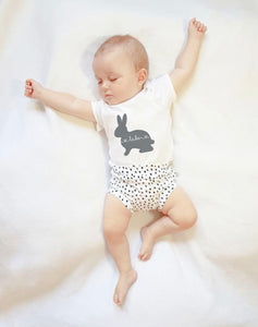 Personalised baby rabbit short sleeve bodysuit or T-shirt for toddlers (0-3 years)