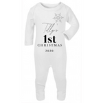 White Personalised My First Christmas sleepsuit romper (0 to 12 months)