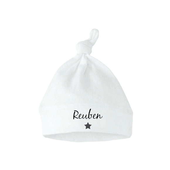 Personalised hat with top knot, Star or Heart Print (0-6 months)