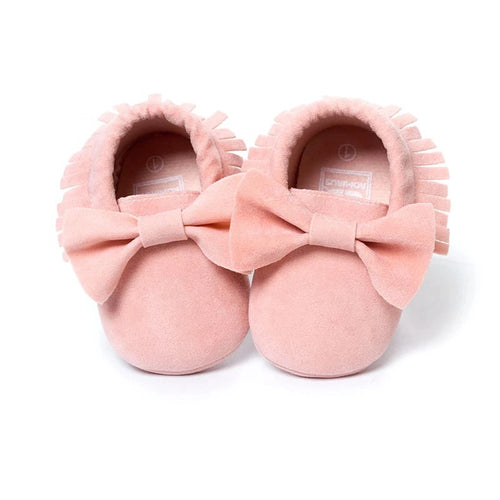 Pink tassel moccasins with bow