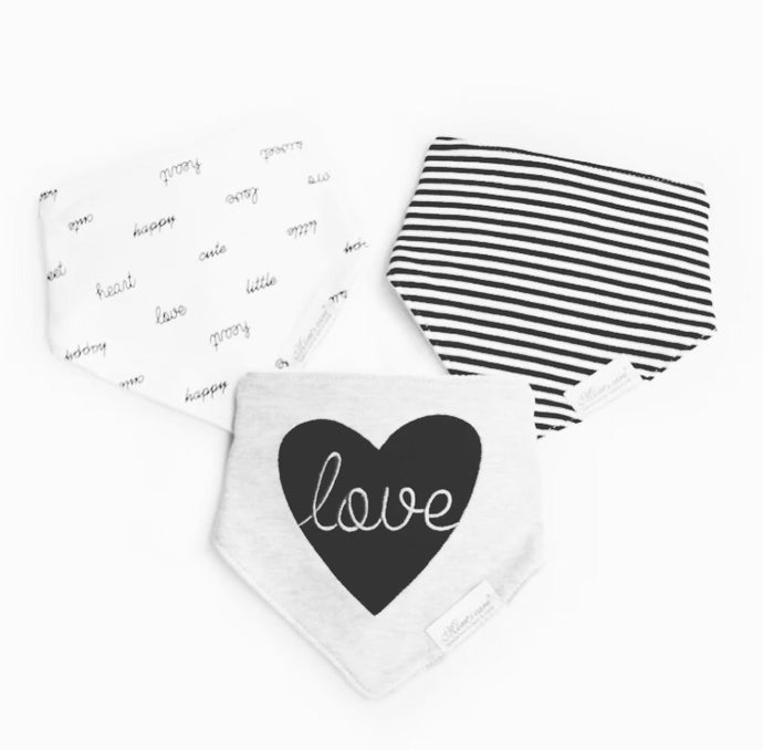 Monochrome LOVE terry bib set - pack of 3