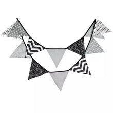 Fabric flag monochrome bunting - 12 flags 3.2m