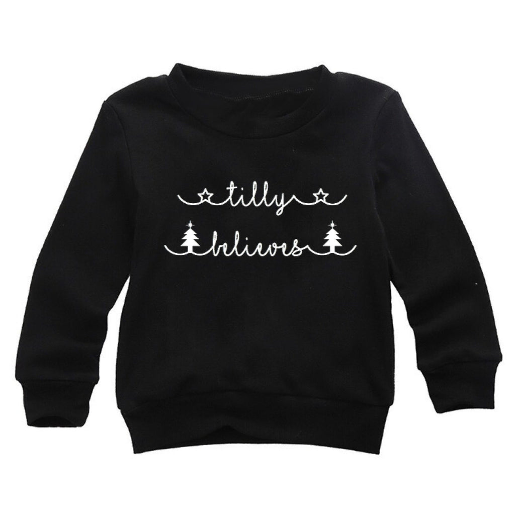 I believe black Christmas sweatshirt in sizes 0-4 years