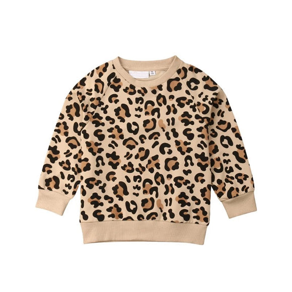 Leopard print long sleeve french jersey cotton top (6 months to 3 years