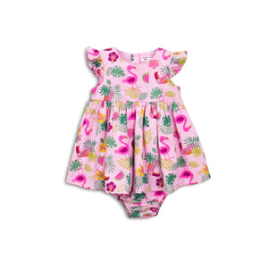 Tropical organza dress with matching bloomers (0-12 months)