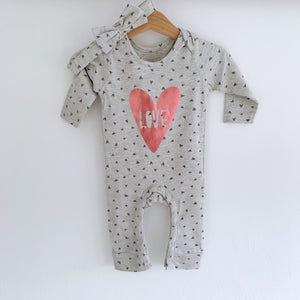 Grey footless heart appliqué love romper with headband